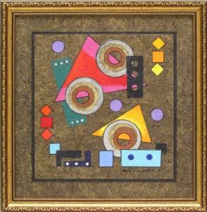 מסגרת לציור אקרילי- מצאנו רקע דומה לרקע עליו הציור ופס כהה יותר ש